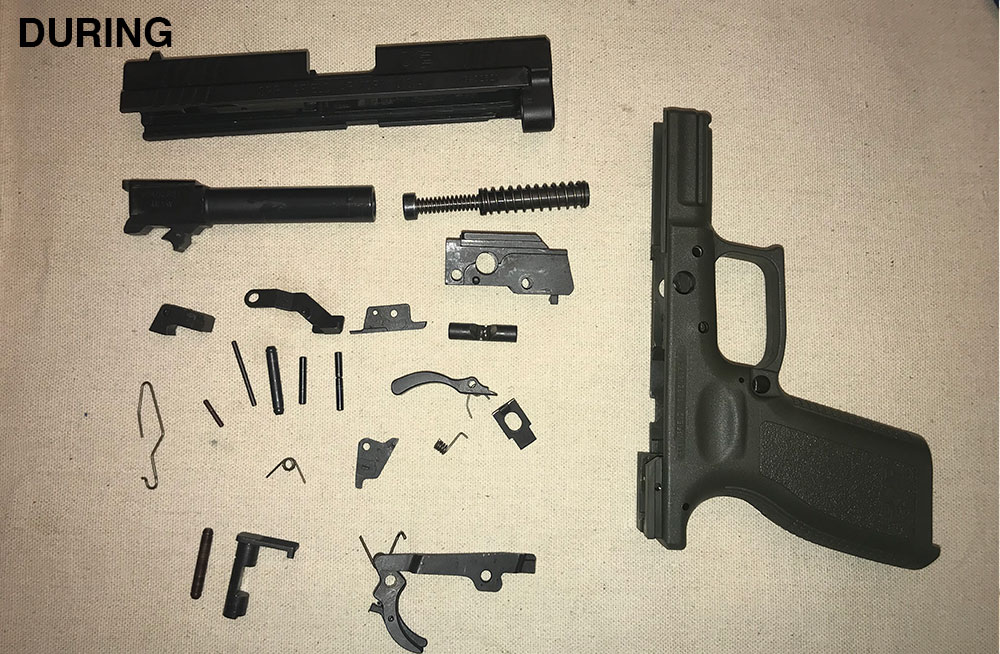 gun after it has been disassembled